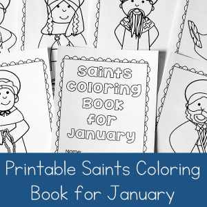 Looking for a seasonal saint activity to do with children? This free printable saints coloring book for January is a great Catholic coloring book for kids #CatholicPrintables #CatholicKids