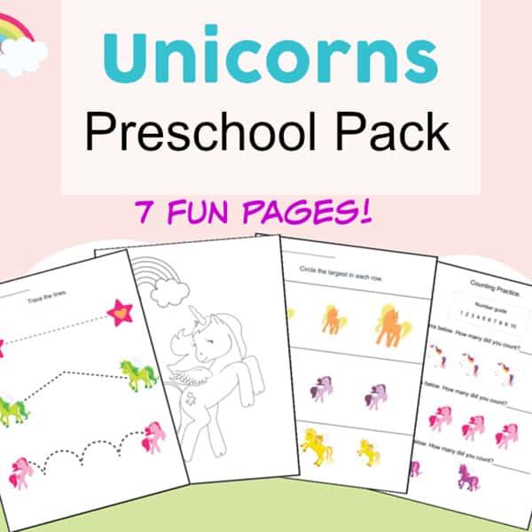 Free Unicorn Printables Preschool Activity Packet - Fun and