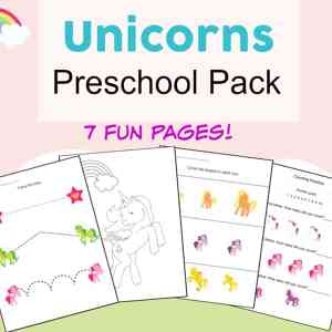 Fun basic skills practice with these magical unicorns printables packet! Free unicorn printables worksheets packet for preschool children featuring coloring, cutting, numbers, pre-writing, and more.