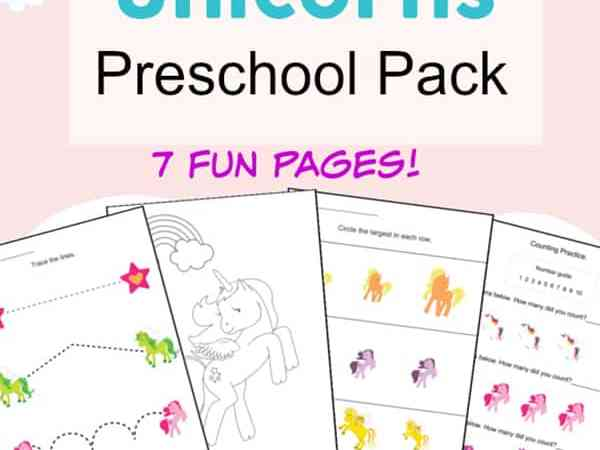 Free Unicorn Printables Preschool Activity Packet