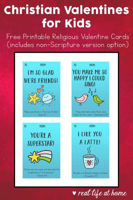Free printable religious valentine cards for kids with fun designs that you can print at home. These Christian Valentines have a small Scripture verse at the bottom of each valentine. (There is also a version of each of these cards without the Scripture verse.) | Real Life at Home