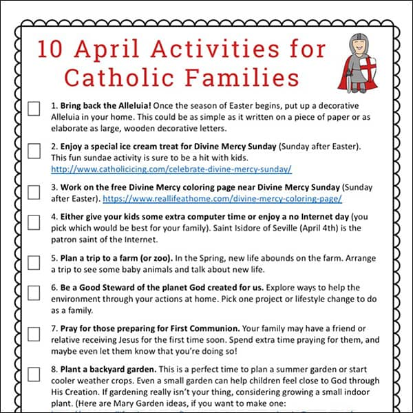 photograph relating to Catholic Printable Activities referred to as 10 April Actions for Catholic Family members Absolutely free Printable