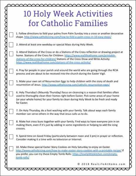 Free printable Holy Week Activities for Families with two versions of the printable, making it a perfect supplement for Holy Week for kids and families of many denominations. One of the version is a Catholic version. | Real Life at Home