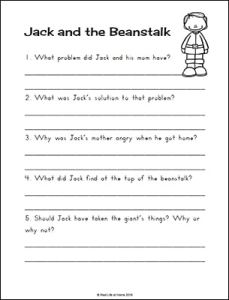 Jack and the Beanstalk Comprehension Worksheet Free Printable | Real Life at Home