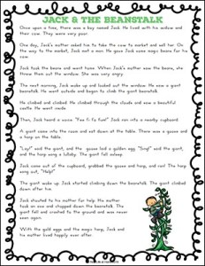 Jack and the Beanstalk Story Printable - Free Printable from Real Life at Home