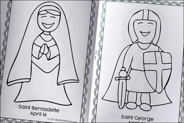 April Saints Coloring Book (inside) - Saint Bernadette and Saint George | Real Life at Home