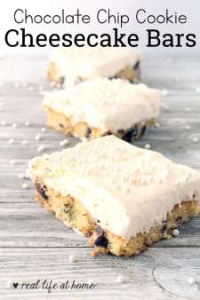Check out this Chocolate Chip Cookie Cheesecake Bars recipe! With these ChocolateChip Cookie Cheesecake Bars, you get all the deliciousness of that soft, whipped cheesecake along with the comfort of chocolate chip cookies. What a great combination!