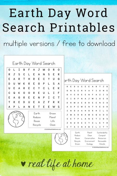 Free Earth Day Word Search Printable for Kids | Includes two versions which makes these Earth Day printables perfect for both elementary students and middle school students