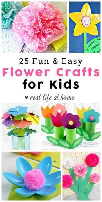 Springtime is such a great time to work on flower crafts. To get you prepared with some ideas for fun flower crafts, I've put together a collection of 25 flower craft ideas for kids. Another bonus is that you can use any of these to make Mother's Day crafts at home, school, or at co-op. | Real Life at Home