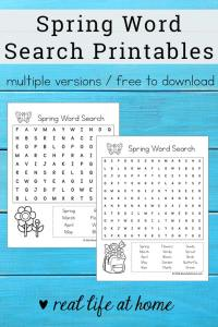 Free Spring Word Search Printable for Kids - {Free Printable available as an instant downloadable pdf file} - perfect for class parties, spring gatherings, or just a fun time filler for early finishers of work. This printable includes Spring-themed search terms. | Real Life at Home