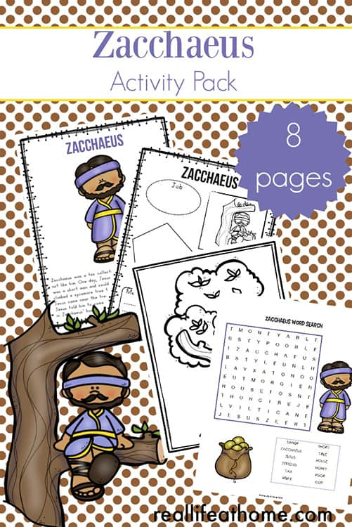 Zacchaeus Printables Packet Including Story For Kids Coloring Page And More