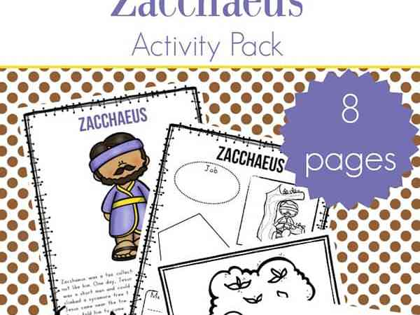 Zacchaeus Story for Kids: Free Zacchaeus Printables Packet for Elementary Students