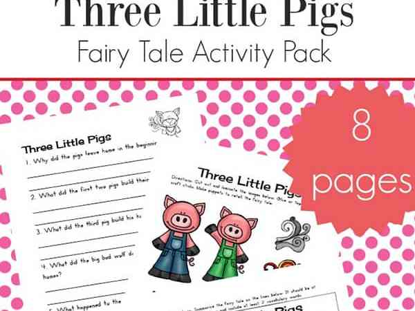 Three Little Pigs Worksheets and Activities Packet for Kindergarten – 2nd Grade