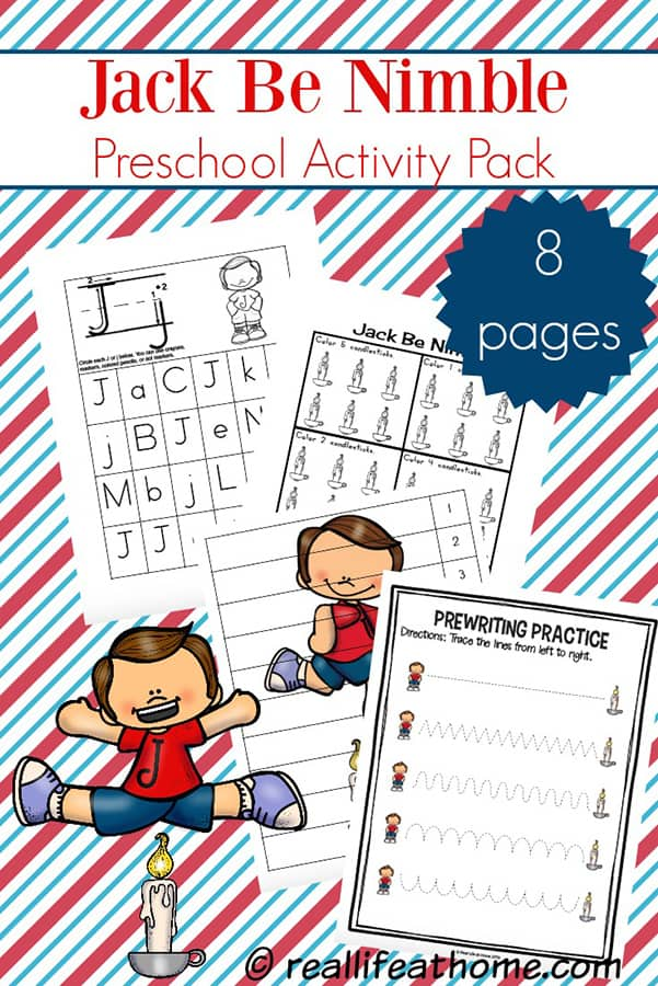 Fun basic skills practice for preschool and kindergarten using the nursery rhyme, Jack Be Nimble. Free Jack Be Nimble preschool learning packet featuring coloring, cutting, numbers, writing, and more. #JackBeNimble #FreePreschoolPrintables #PreschoolPrintables