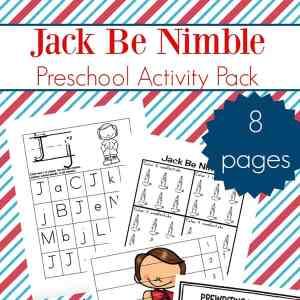 Nursery Rhyme Activities: Jack Be Nimble Preschool Learning Packet