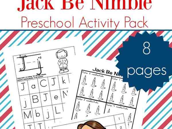 Nursery Rhyme Activities: Jack Be Nimble Preschool Learning Packet
