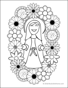 Mary coloring page - perfect for a May crowning activity from Real Life at Home