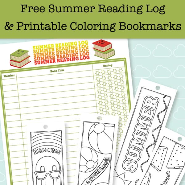 Free Printable Summer Reading Log and Bookmarks to Color