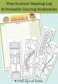 Summer reading is fun! This post has a free printable summer reading log and printable bookmarks to color that are summer-themed. There are also more ideas for summer reading fun.