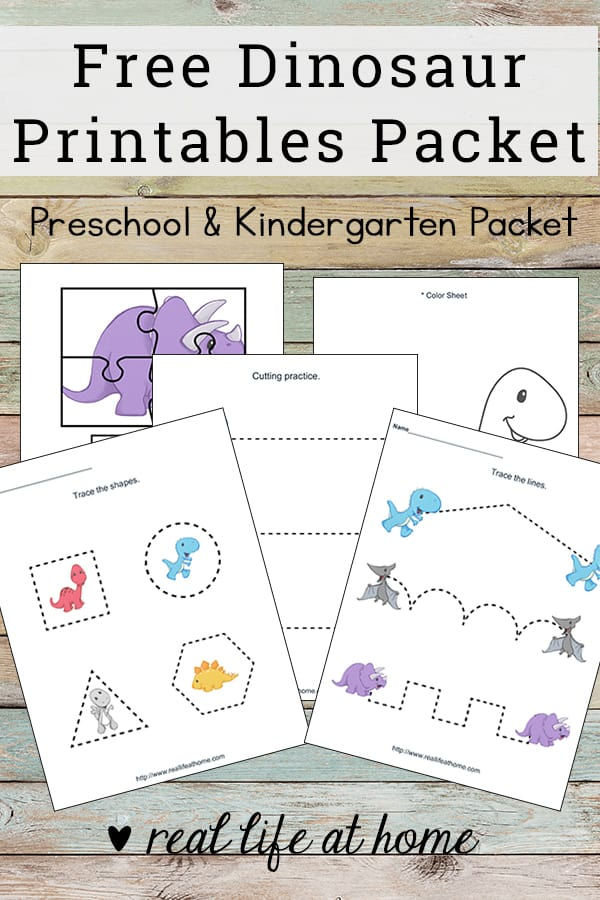 Basic skills practice with this dinosaur printables packet! Free worksheets packet for preschool children featuring coloring, cutting, pre-writing, and more #dinosaurs #DinosaurPrintables #DinosaurWorksheets