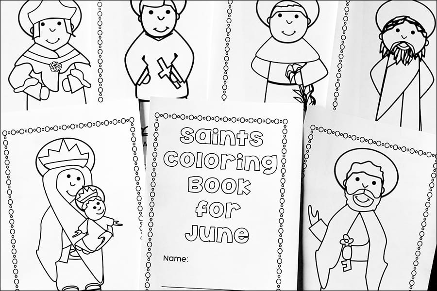 Free Printable Saints Coloring Book for June (Activity for
