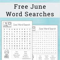 June Word Search Printable Puzzle for Kids