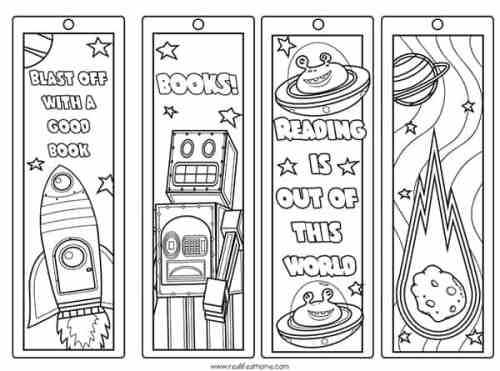 Free Printable Space Bookmarks to Color for Kids from Real Life at Home