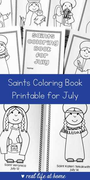 Free printable saints coloring book for July - a great Catholic coloring book for kids