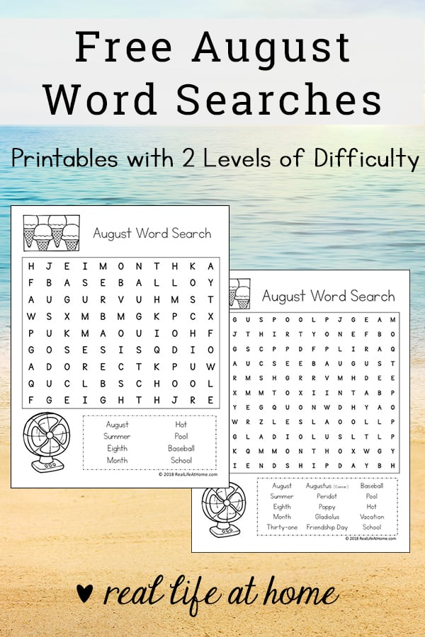 graphic regarding Free Printable Summer Word Search identify Cost-free Printable: August Term Glance Printable Puzzle for Little ones