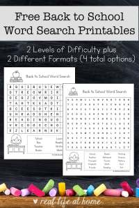 Free Back to School Word Search Printable for Kids - There are two versions of this back to school printable with different levels of difficulty. | Real Life at Home