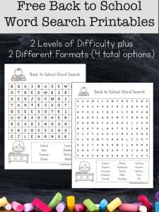 Back to School Word Search Printable