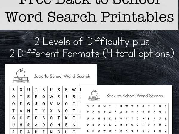 Back to School Word Search Printable Puzzle for Kids