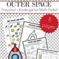 Outer Space Preschool and Kindergarten Math Worksheets Packet