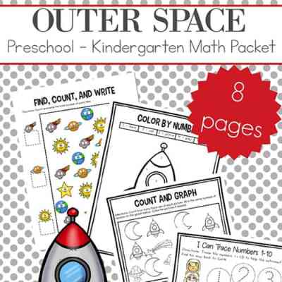 Free Outer Space Preschool and Kindergarten Math Worksheets Packet