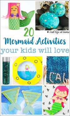 20 awesome mermaid crafts and activities your kids will love. There are mermaid crafts for all ages and abilities in this list. | Real Life at Home