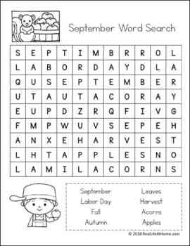 Free September Word Search Printable from Real Life at Home
