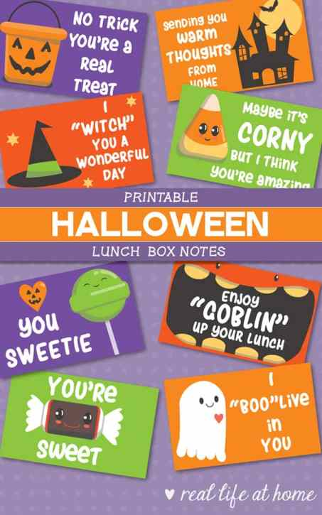 These funny Halloween jokes for kids are sure to add a giggle to lunch when used as Halloween lunchbox notes. They are also fabulous to use with a piece of candy attached for Halloween parties! They are available as a free download in this post. | Real Life at Home