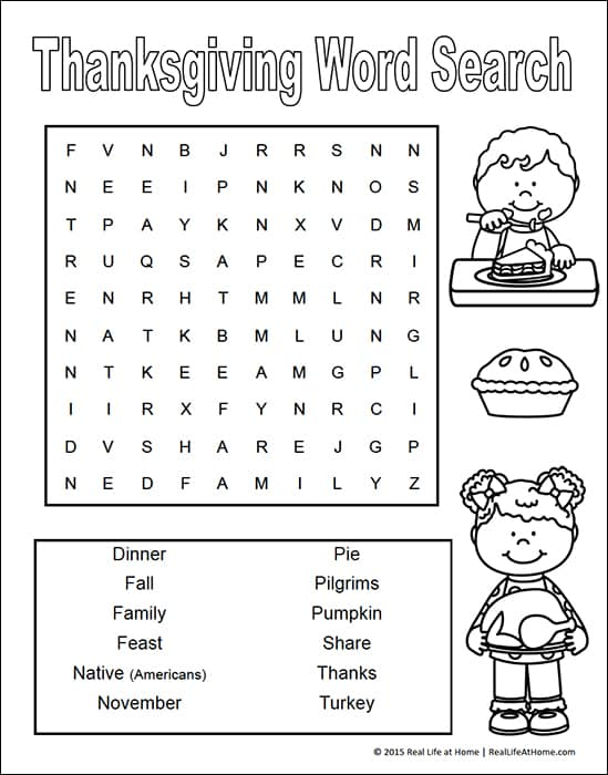 picture about Free Printable Word Search for Kids titled Thanksgiving Phrase Glimpse for Children Totally free Printables
