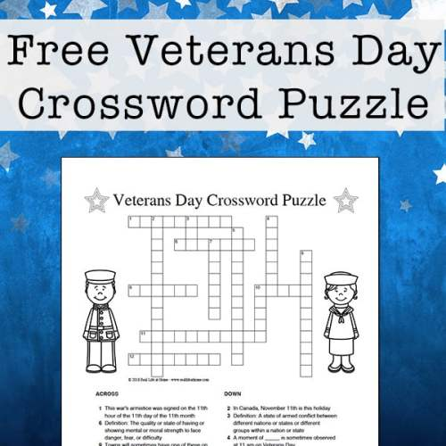 Veterans Day Crossword Puzzle Free Printable for Kids