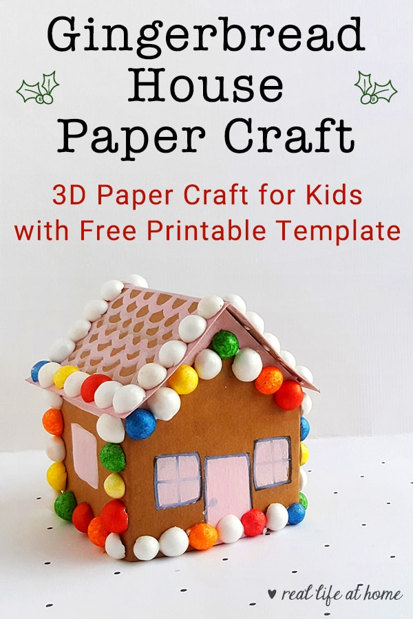 image relating to Printable Gingerbread House titled Lovable Gingerbread Property Paper Craft with Totally free Printable Template