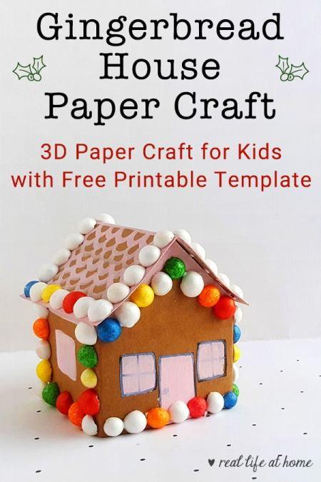 Christmas Gingerbread House Printables.Cute Gingerbread House Paper Craft With Free Printable Template