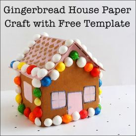 This gingerbread house paper craft is a great Christmas activity for kids of all ages. It's an open-ended art activity, since children can decorate the gingerbread house craft how they want. This post includes a free printable gingerbread house paper craft template.