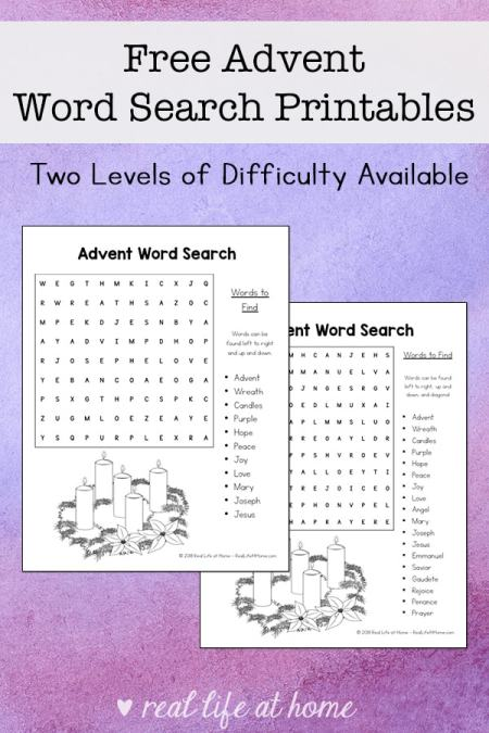 Free Printable Advent Word Search Printable for Kids (with two levels of difficulty) | Real Life at Home