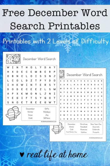 Free December Word Search Printable for Kids - There are two versions of this printable with two different levels of difficulty for each layout type. | Real Life at Home