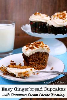 Easy Gingerbread Cupcakes with Homemade Cinnamon Cream Cheese Frosting - This recipe starts with a simple box mix but then becomes so much more when you add in extra ingredients to make it truly special | Recipe at Real Life at Home
