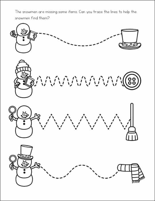 Free Snowman Worksheets for Preschool and Kindergarten