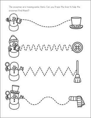 Snowman Line Tracing Page from Snowman Worksheets Learning Packet from Real Life at Home