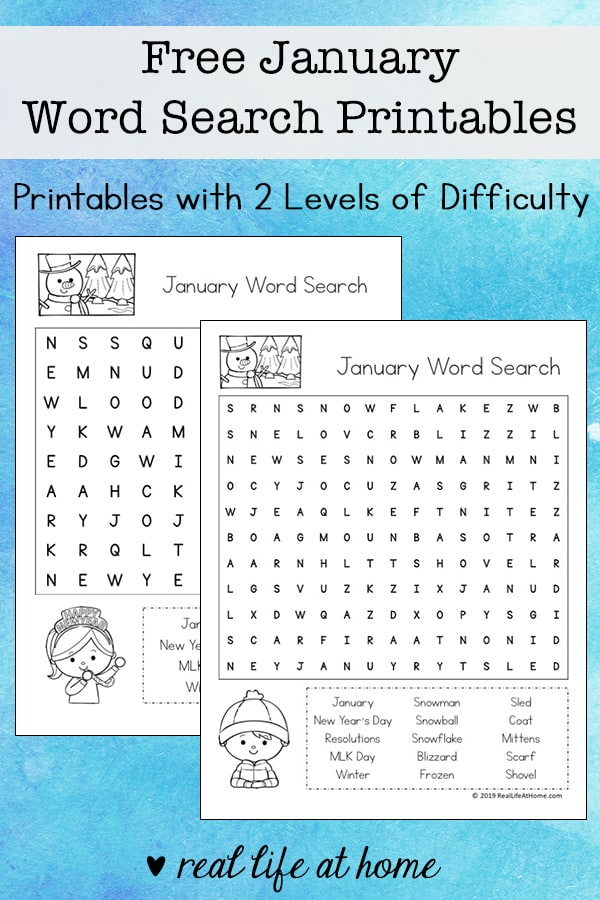 image relating to Frozen Word Searches called Absolutely free January Phrase Glimpse Printable Puzzle Fixed for Little ones
