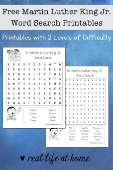 Free Martin Luther King Jr. Word Search Printables set - featuring two levels of difficulty | Real Life at Home