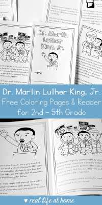 Free Dr. Martin Luther King Jr. Printable Book (with coloring page areas) for 2nd - 5th Grade